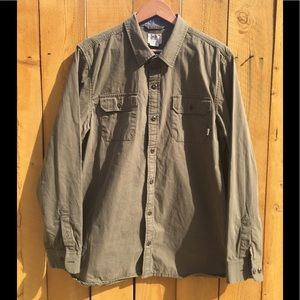 Vans Dark Green Casual Button Down